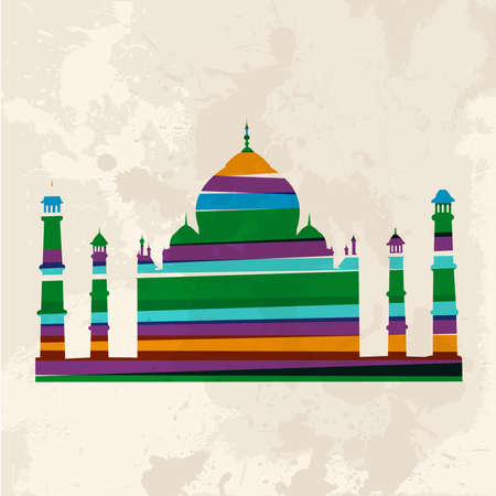 Diversity colors transparent bands Taj Mahal over grunge background.This illustration contains transparency and is layered for easy manipulation and custom coloring. Vector