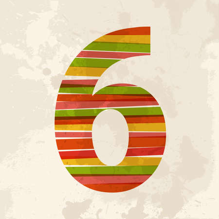number 6: Diversity colors transparent bands number 6 over grunge background.  This illustration contains transparency and is layered for easy manipulation and custom coloring. Illustration