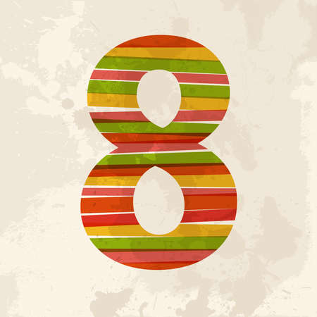 numeric: Diversity colors transparent bands number 8 over grunge background. This illustration contains transparency and is layered for easy manipulation and custom coloring. Illustration