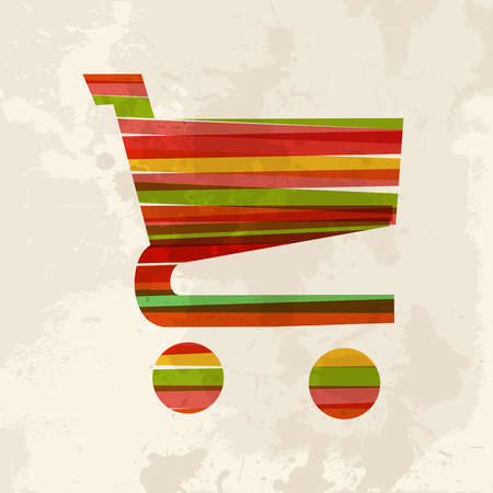 Diversity colors transparent bands shopping cart over grunge background. This illustration contains transparency and is layered for easy manipulation and custom coloring. Vector