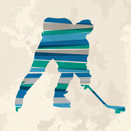 Diversity colors transparent bands hockey player sportsman over grunge background. EPS10 file version. This illustration contains transparency and is layered for easy manipulation and custom coloring. Vector