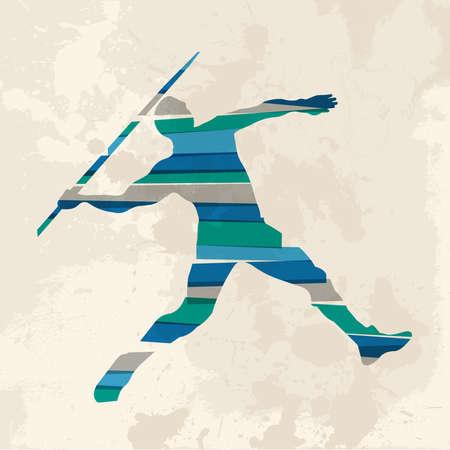 lanzamiento de jabalina: Diversidad de colores bandas transparentes jabalina lanzador deportista sobre el fondo del grunge. Esta ilustración contiene transparencias y es en capas para la manipulación fácil y colorante de encargo.