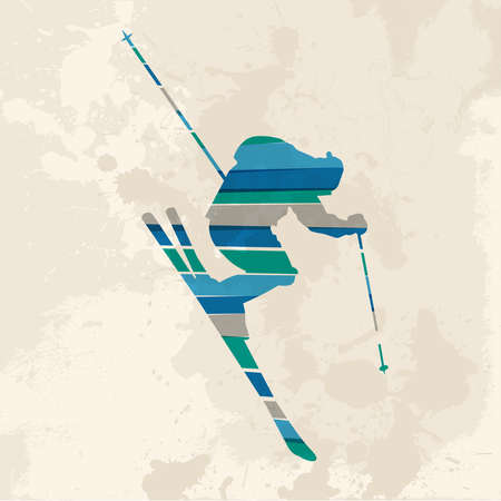 dusty: Diversity colors transparent bands Skier sportsman over grunge background. This illustration contains transparency and is layered for easy manipulation and custom coloring. Illustration