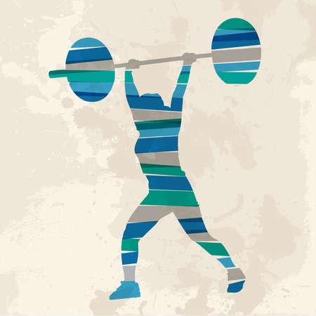 levantar peso: Diversidad de colores bandas transparentes levantador de pesas atleta sobre el fondo del grunge. Esta ilustraci�n contiene transparencias y es en capas para la manipulaci�n f�cil y colorante de encargo. Vectores