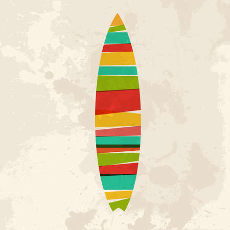 Diversity colors transparent bands Surfboard over grunge background. EPS10 file version. This illustration contains transparency and is layered for easy manipulation and custom coloring. Stock Vector - 20603169