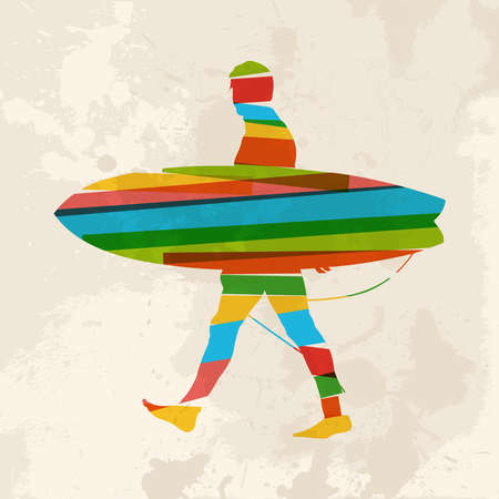 watersports: Diversity colors transparent bands surfer with surfboard over grunge background.  This illustration contains transparency and is layered for easy manipulation and custom coloring. Illustration