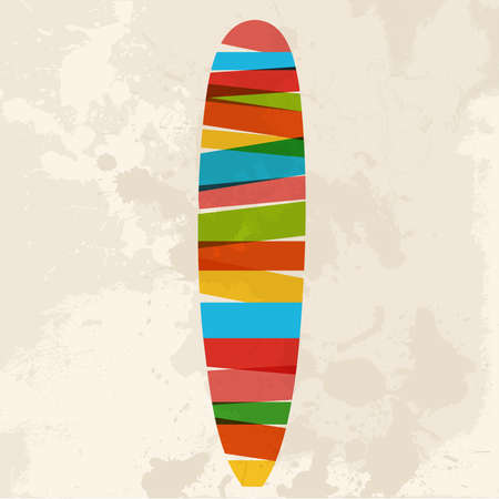 Diversity colors transparent bands surfboard over grunge background. EPS10 file version. This illustration contains transparency and is layered for easy manipulation and custom coloring. Vector