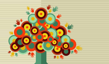 cute tree: Cute tree hands stripe background concept vector . Vector file layered for easy manipulation and custom coloring.