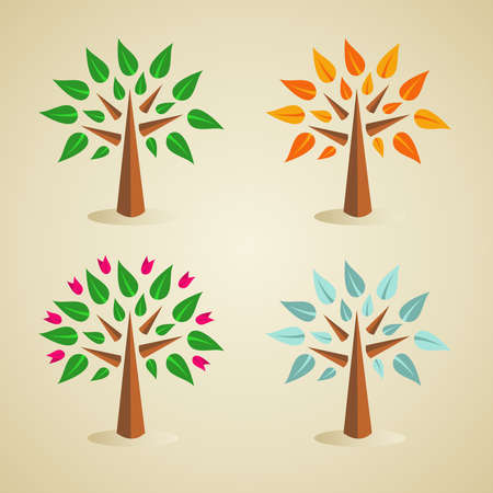 yellow banded: Multicolored season tree set  . Vector file layered for easy manipulation and custom coloring. Illustration