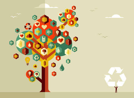 Sustainable icons conceptual tree. Vector file layered for easy manipulation and custom coloring. Vector