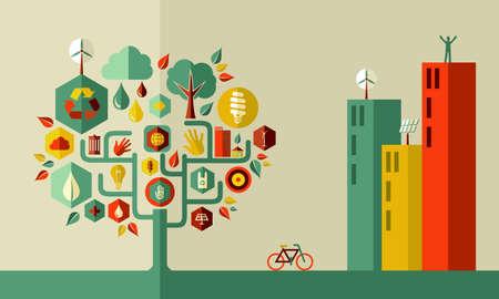 지속 가능한 에너지 도시 개념입니다. 쉬운 조작 및 사용자 지정 색상을위한 계층화 된 벡터 파일입니다. 일러스트