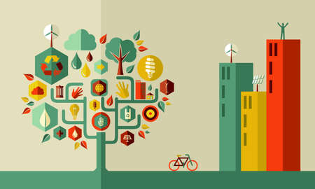 Sustainable energy town concept  . Vector file layered for easy manipulation and custom coloring. Vector