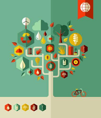 Eco behoud stad conceptuele boom. Vector bestand gelaagd voor eenvoudige manipulatie en aangepaste kleuren. Vector Illustratie