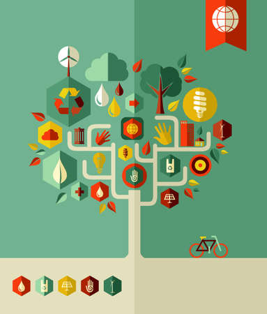 energy conservation: Eco conservation city conceptual tree  . Vector file layered for easy manipulation and custom coloring.