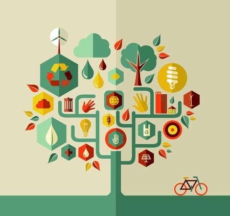 エコデザイン保全都市概念木ベクター ファイルを簡単に操作およびカスタム着色層。