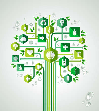 Green resources technology concept tree design. Vector file layered for easy manipulation and custom coloring. Vector