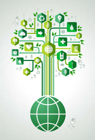 layered: Green environment icons set tree over the world . Vector file layered for easy manipulation and custom coloring.
