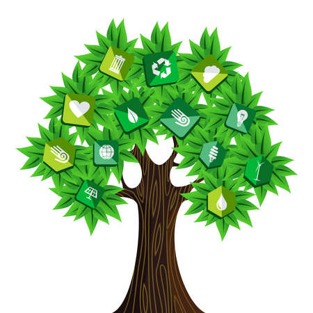 Sustainable energy tree icons concept . Vector file layered for easy manipulation and custom coloring. Stock Vector - 20602945