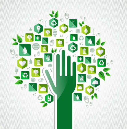 recycling: Earth conservation icons hand tree concept . Vector file layered for easy manipulation and custom coloring.