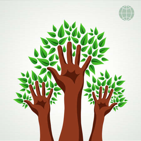 Hands air Ecology  concept design. Vector file layered for easy manipulation and custom coloring. Vector