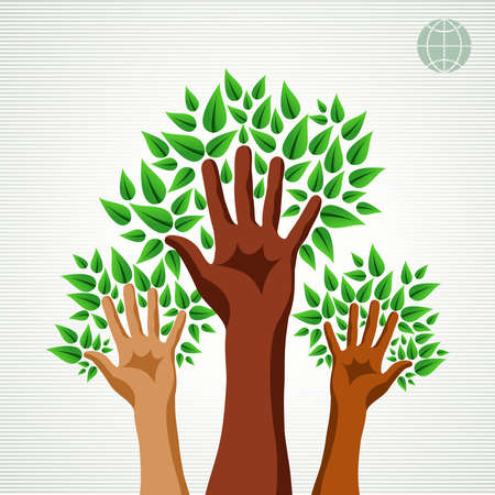 Save the Earth tree idea with hands background. This illustration is layered for easy manipulation and custom coloring Vector