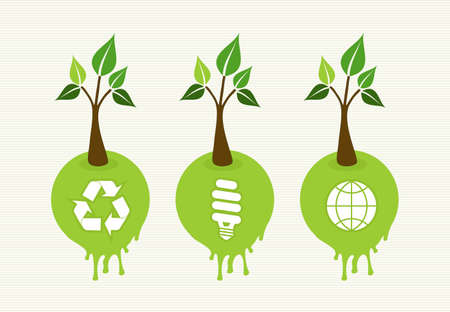 go green icons: Flat style save the Earth tree idea with icons set. This illustration is layered for easy manipulation and custom coloring Illustration