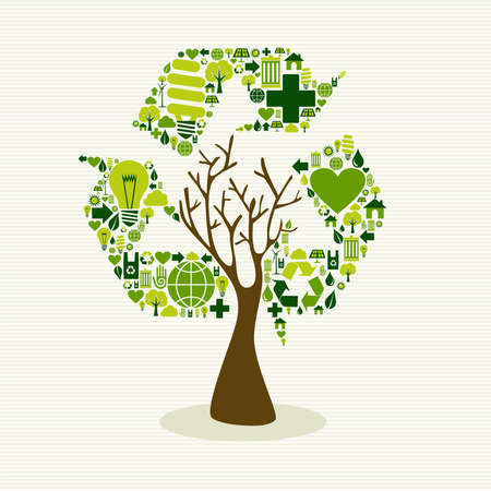 Save the Earth tree idea with icons set. This illustration is layered for easy manipulation and custom coloring