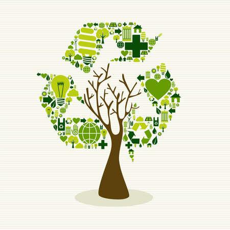 Sla de boom van de aarde idee met pictogrammen set. Deze illustratie is gelaagd voor eenvoudige manipulatie en aangepaste kleur