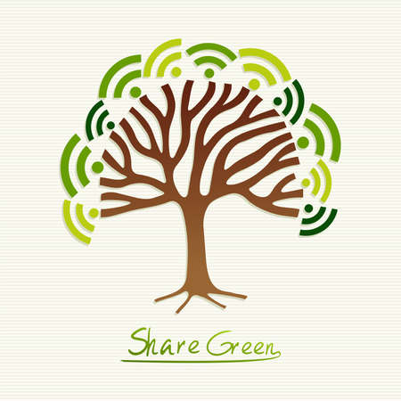 go green icons: Save the Earth tree idea with share icon set. This illustration is layered for easy manipulation and custom coloring Illustration