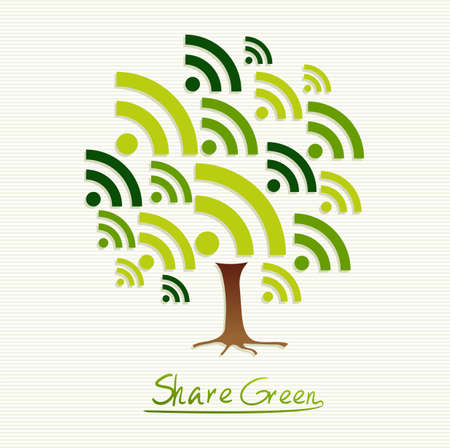 Save the Earth tree idea with share icon set. This illustration is layered for easy manipulation and custom coloring Vector