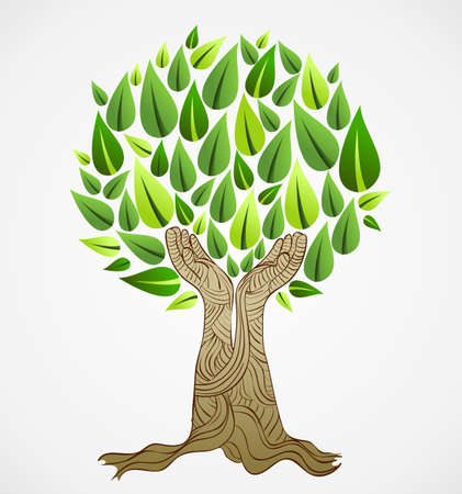 tree crown: Hand draw style save the Earth tree idea. This illustration is layered for easy manipulation and custom coloring
