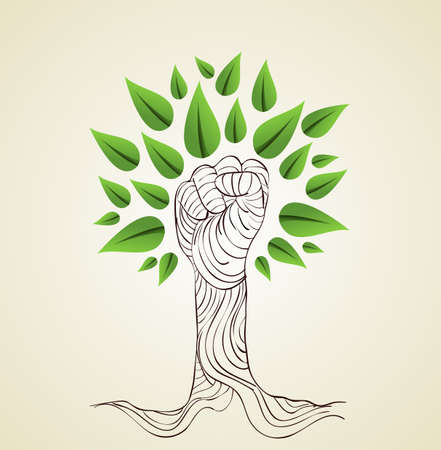 recycle tree: Hand draw style save the Earth tree idea. This illustration is layered for easy manipulation and custom coloring