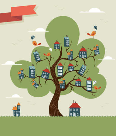 custom home: Unusual conceptual home tree town. Vector illustration layered for easy manipulation and custom coloring.