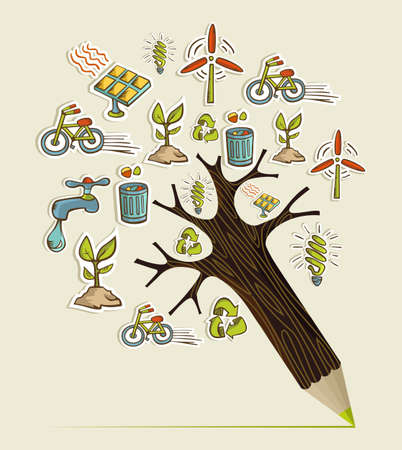 Environmental conservation icons in pencil tree shape. Vector illustration layered for easy manipulation and custom coloring. Vector