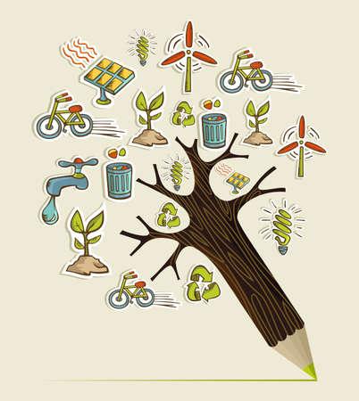 educacion ambiental: Iconos de la conservación del medio ambiente en forma de árbol de lápiz. Ilustración vectorial en capas para la manipulación fácil y colorante de encargo.