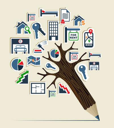 Potlood boom vormige gemaakt met vastgoed iconen set illustratie. . Vector bestand gelaagd voor eenvoudige manipulatie en aangepaste kleuren.