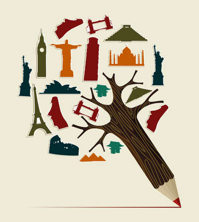 picchu: Pencil tree shaped made with world landmarks silhouettes elements . Vector illustration layered for easy manipulation and custom coloring.