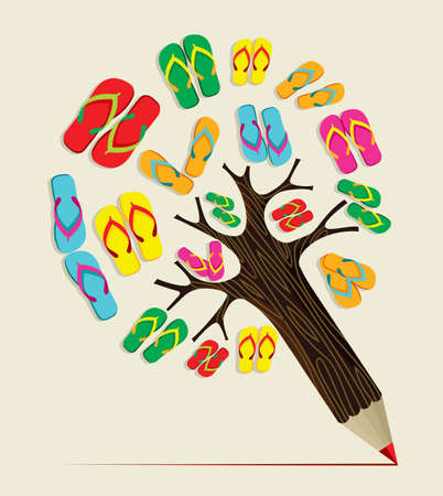 Colorful summer flip flop concept pencil tree. Vector illustration layered for easy manipulation and custom coloring.
