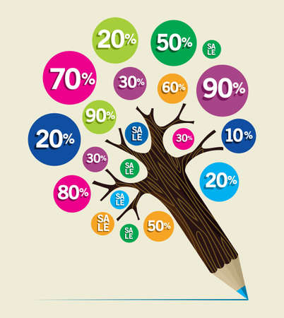 Sale percent discount concept pencil tree. Vector illustration layered for easy manipulation and custom coloring. Vector