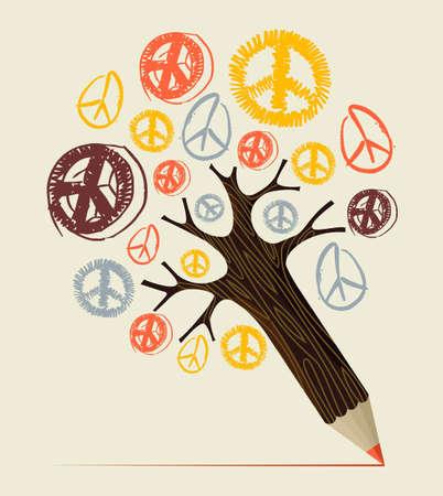 simbolo de la paz: Paz y amor diversidad símbolo idea árbol lápiz. Ilustración vectorial en capas para la manipulación fácil y colorante de encargo.
