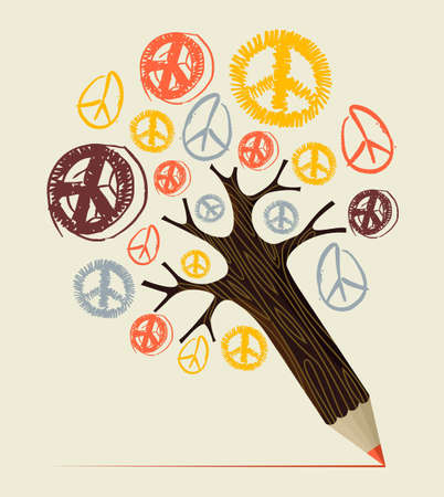 Peace and love diversity symbol pencil tree idea. Vector illustration layered for easy manipulation and custom coloring. Vector