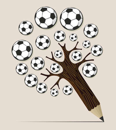Soccer school pencil tree idea. Vector illustration layered for easy manipulation and custom coloring. Vector