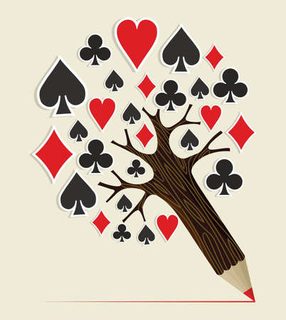 wining: Learn to play poker concept pencil tree. Vector illustration layered for easy manipulation and custom coloring.