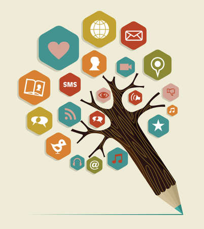 Multimedia social networks concept pencil tree. Vector illustration layered for easy manipulation and custom coloring.