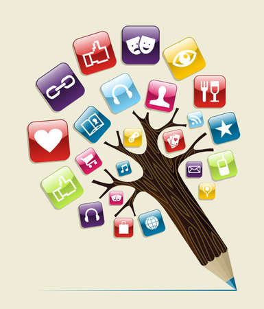 show plant: Social media glossy icons buttons concept pencil tree. Vector illustration layered for easy manipulation and custom coloring.