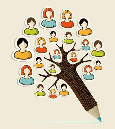 diversidad: Diversidad social redes de medios árbol de la gente pegatina concepto lápiz. Ilustración vectorial en capas para la manipulación fácil y colorante de encargo. Vectores