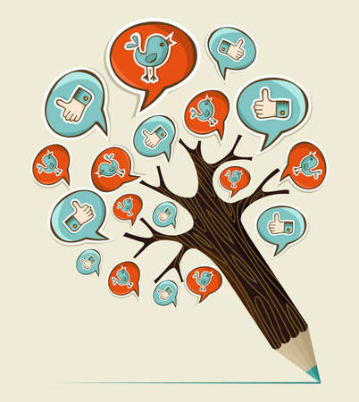 Social media hand drawn icons concept pencil tree. Vector illustration layered for easy manipulation and custom coloring. Stock Vector - 20602836
