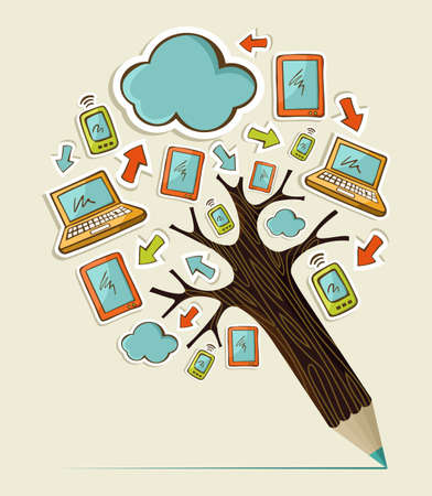 Hand drawn Social media sticker icons concept pencil tree. Vector illustration layered for easy manipulation and custom coloring. Stock Vector - 20602731