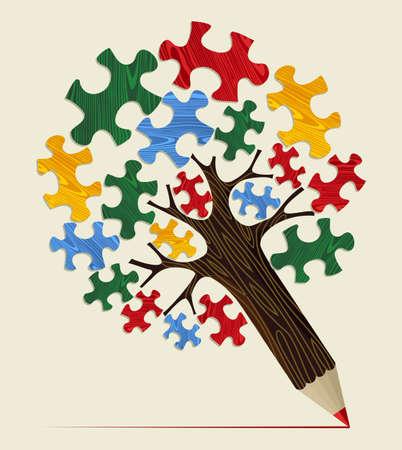 戦略パズル ピース コンセプト鉛筆木。ベクトル イラストを簡単に操作およびカスタム着色層します。