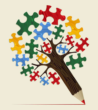 pencil plant: Strategy puzzle piece concept pencil tree. Vector illustration layered for easy manipulation and custom coloring.